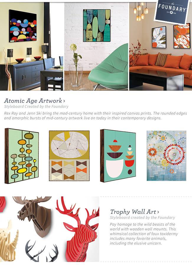 Shop Atomic Age Artwork. Rex Ray and Jenn Ski bring the mod-century home with their inspired canvas prints. The rounded edges and amorphic bursts of mid-century artwork live on today in their contemporary designs.