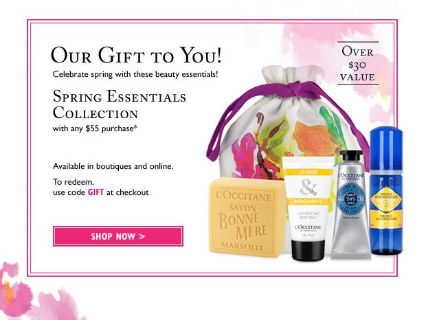 Celebrate spring with these beauty essentials! Spring Essentials Collection with any $55 purchase* Over $30 value. Available in stores and online.  Use code GIFT at checkout!