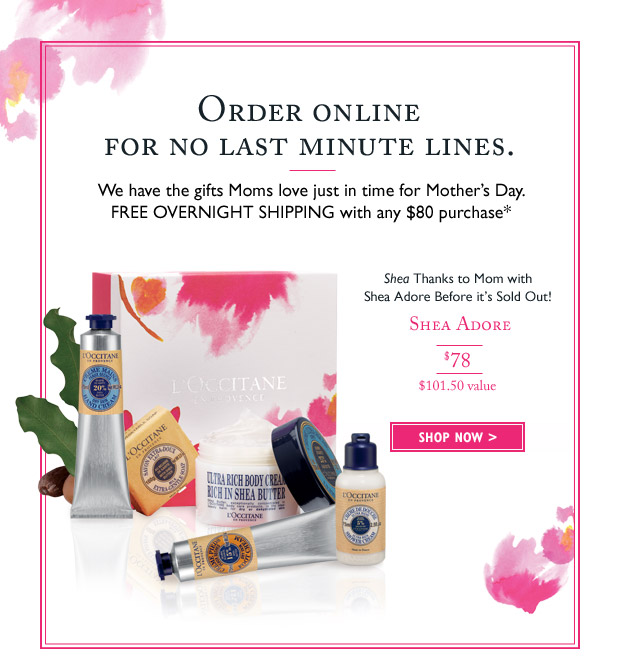 We have the gifts Moms love just in time for Mother's Day. Free overnight shipping with any $80 purchase*