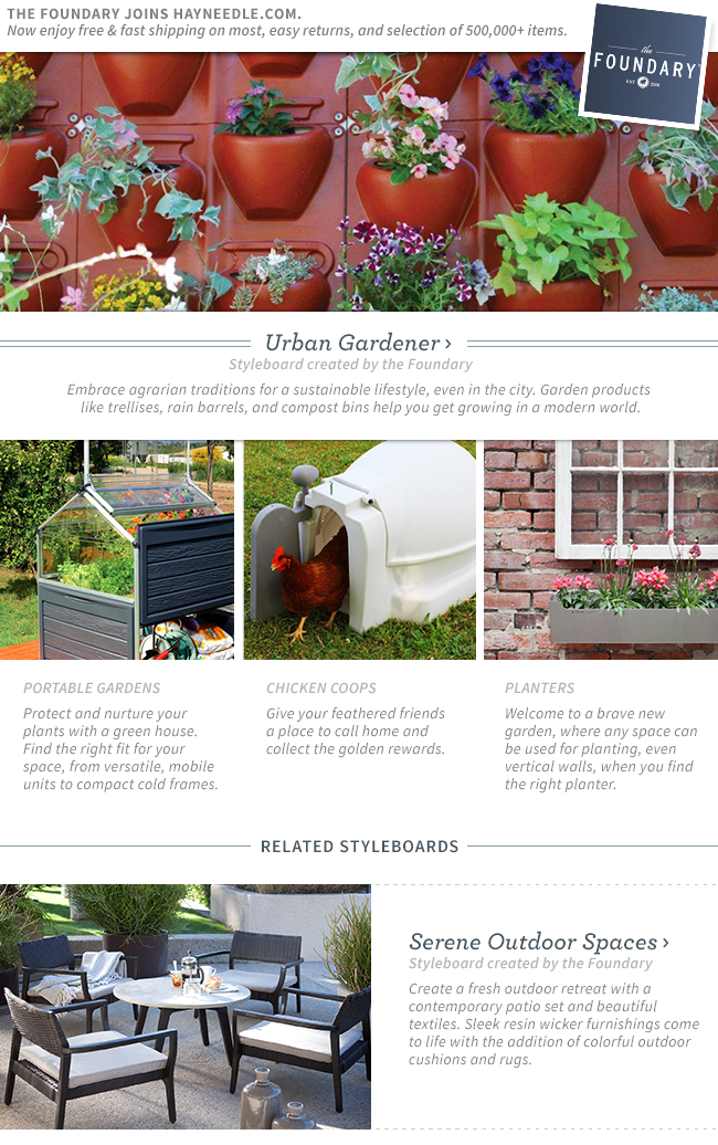 Shop Urban Gardener. Embrace agrarian traditions for a sustainable lifestyle, even in the city. Garden products like trellises, rain barrels, and compost bins help you get growing in a modern world.