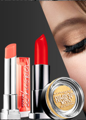 Try Color Sensational® Vivids in Neon Red, Eye Studio® Color Tattoo® Metal in Gold Rush, and Color Sensational® Color Whisper™ in Coral Ambition.