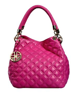 Silvio Tossi Keychain Embellished Quilted Solid Color Leather Hobo