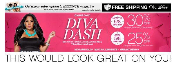 Diva Dash 30% off Sitewide