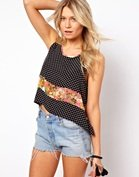 Love Crop Top In Spot and Floral Print