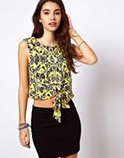 ASOS Crop Top with Tie Front in Floral Print