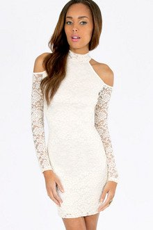 Cold Shoulder Lace Bodycon Dress $19