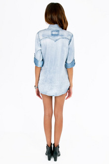 Britney Bleached Denim Shirt $47