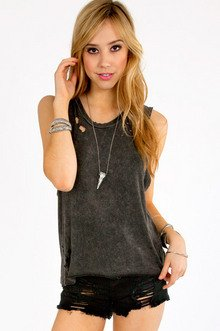 Faded Holey Tank Top $22
