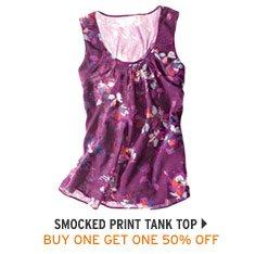 Smocked Print Tank Top