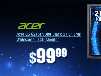 Acer G5 G215HVBbd Black 21.5 inch 5ms Widescreen LCD Monitor
