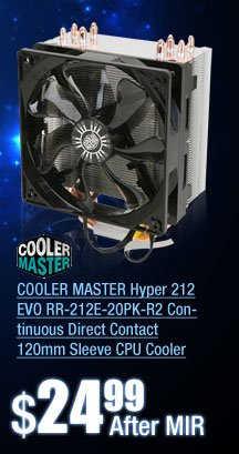 COOLER MASTER Hyper 212 EVO RR-212E-20PK-R2 Continuous Direct Contact 120mm Sleeve CPU Cooler