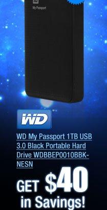 WD My Passport 1TB USB 3.0 Black Portable Hard Drive WDBBEP0010BBK-NESN