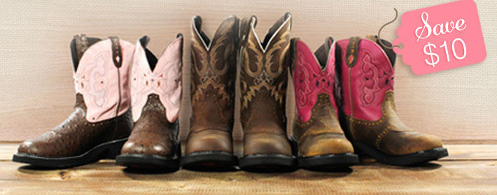 Save $10 on Justin® Gypsy and Ariat® Fatbaby boots.