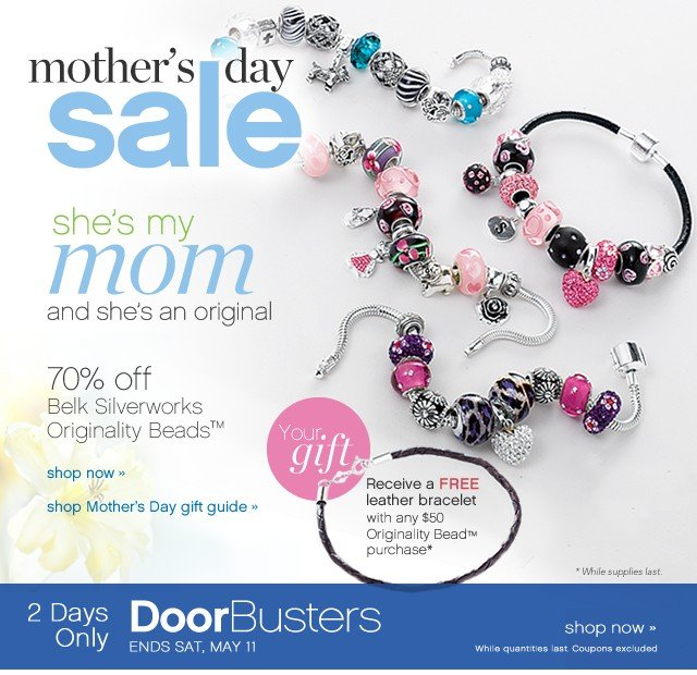 Mother's Day Sale. 70% off Belk Silverworks Originality Beads™ Shop now.