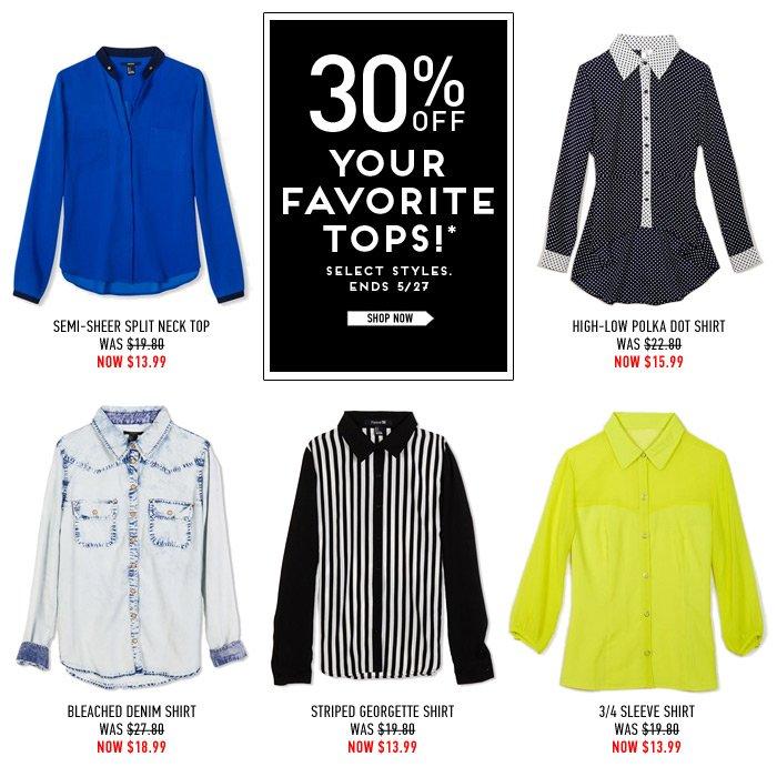 Deal Alert! Shop 30% Off Select Tops! - Shop Now