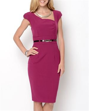 Taylor Avedon Asymmetrical Neckline Belted Dress