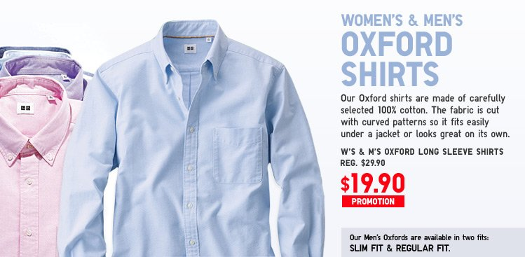 WOMEN'S AND MEN'S OXFORD SHIRTS
