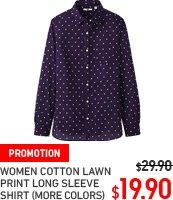 WOMEN COTTON LAWN LONG LEEVE PRINT SHIRT