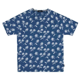 Blue Palm Tree Intarsia T-Shirt
