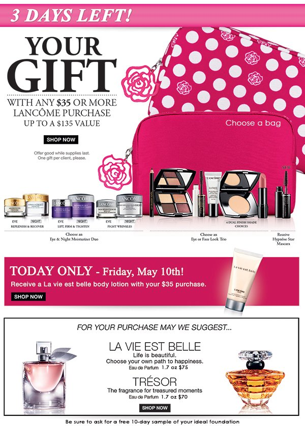 Choose your Lancome gift with $35 purchase