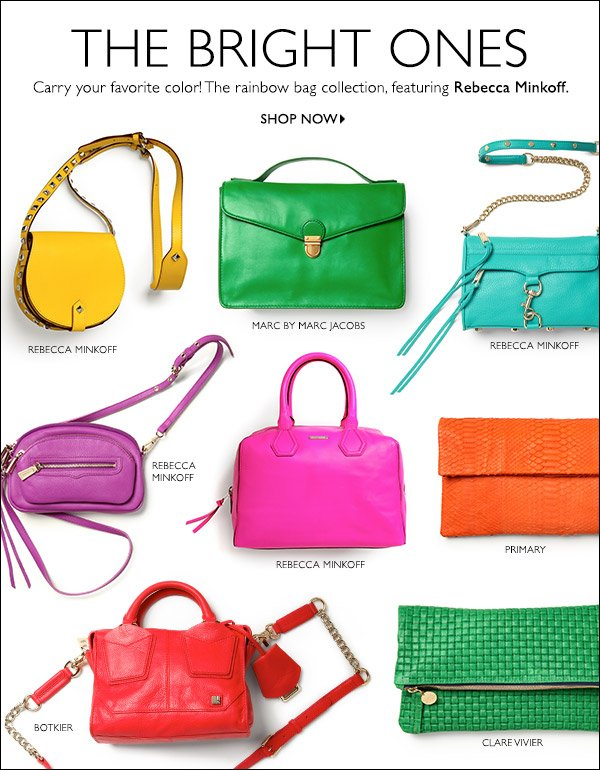 A key takeaway from the runways, rainbow-hued handbags add personality to any look. Shop now >>