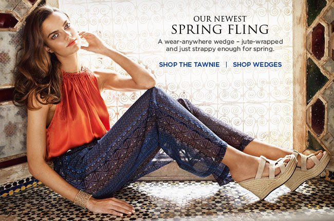OUR NEWEST SPRING FLING – A wear-anywhere wedge – jute-wrapped and just strappy enough for spring.