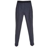 Navy Linen Blend Pleated Front Trousers