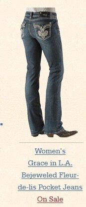 Grace in LA Bejeweled Fleur-de-lis Pocket Jeans