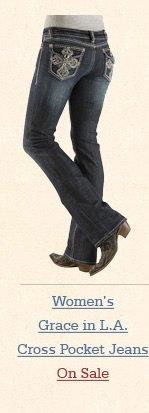 Grace in LA Bejeweled Cross Pocket Jeans