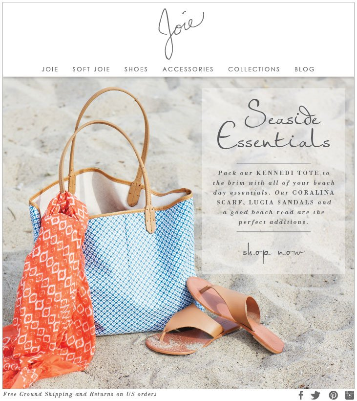 Seaside Essentials Pack our KENNEDI TOTE to the brim with all of your beach day essentials. OUR CAROLINA SCARF, LUCIA SANDALS and a good beach read are the perfect additions. SHOP NOW