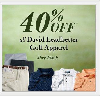 40% Off* David Leadbetter Golf Apparel