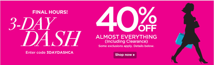 3 Day Dash! 40% Off Almost Everything!