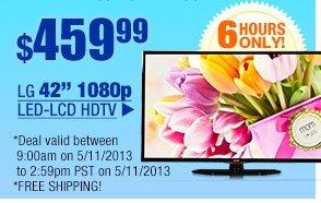 "$459.99 -- LG 42"" 1080p LED-LCD HDTV"