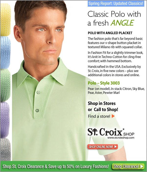 St. Croix's Classic Polo with Angled Placket - Style 3003