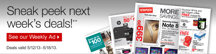 Sneak  peek next weeks deals!** Deals valid 5/12/13–5/18/13. See our  Weekly Ad.