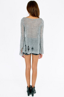 Slashed Mixed Knit Sweater $39