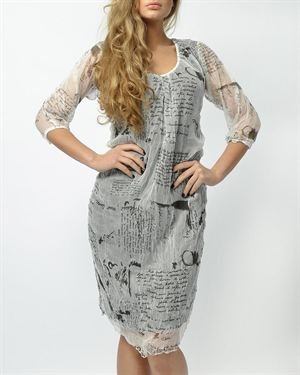 Eccentrica Printed Pleated Dress Made In Italy
