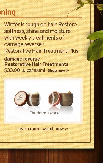Winter is tough on hair Restore softness shine and moisture with  weekly treatments of damage reverse restorative hair treatment plus  damage reverse Restorative Hair Tretment Plus 35 dollars 1 5 fl oz 45 ml  Shop now