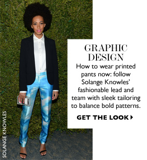 GRAPHIC DESIGN How to wear printed pants now: follow Solange Knowles' fashionable lead and team with sleek tailoring to balance bold patterns. GET THE LOOK