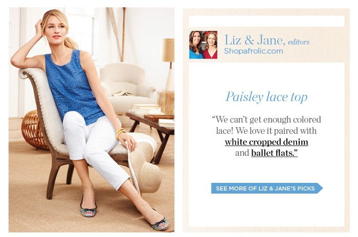 Liz and Jane, editors of shopafrolic.com, share their picks. See more of Liz and Jane's picks.