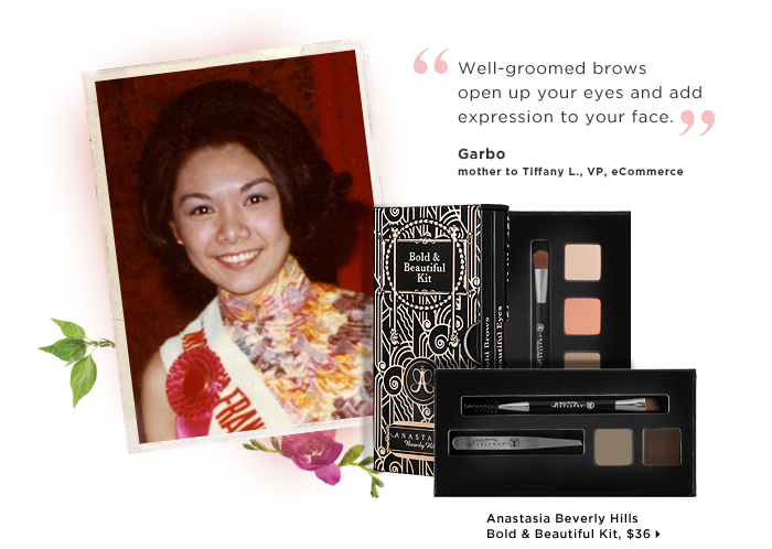 Garbo mother to Tiffany L., VP, eCommerce. Well-groomed brows open up your eyes and add expression to your face. new. Anastasia Bold & Beautiful Kit, $36