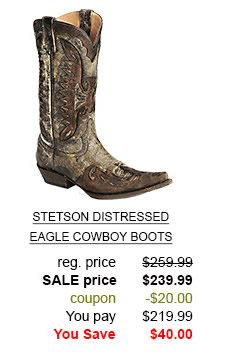 Stetson Distressed Eagle Cowboy Boots