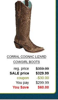 Corral Cognac Lizard Cowgirl Boots