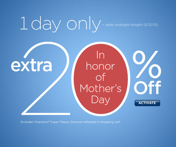 EXTRA 20% Off Today. SHOP NOW!