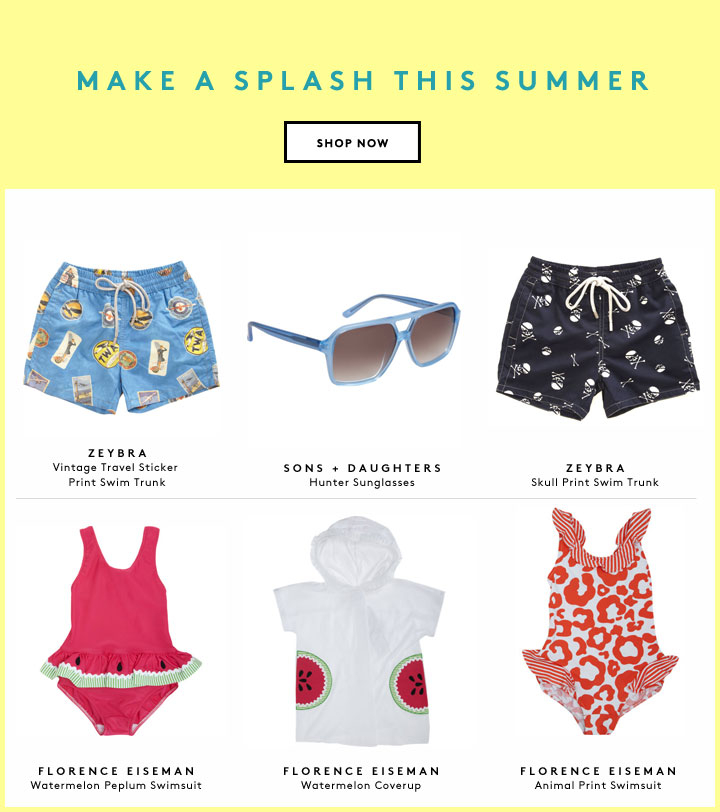 Hit the beach in style with summer swimwear for boys and girls.