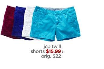 jcp twill shorts $15.99 » orig. $22 ›