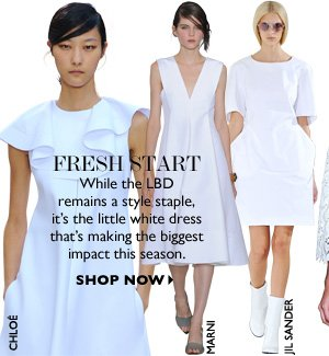 FRESH START While the LBD remains a style staple, it's the little white dress that's making the biggest impact this season. SHOP NOW
