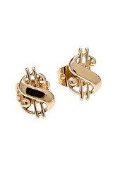 The Baller Money Sign Stud in Yellow Gold