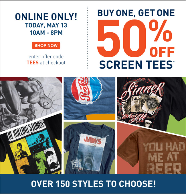 Shop Select Tees BOGO 50% OFF