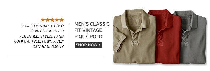 Classic Fit Vintage Piqué Polo Shirt
